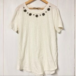 LOFT White T Shirt w Sequins and Embellishments